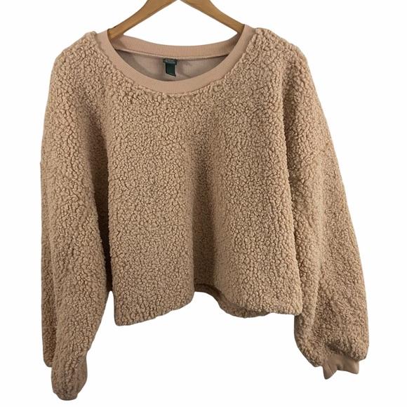 Wild Fable Tan Crop Teddy Sweatshirt Sz XXL NWT